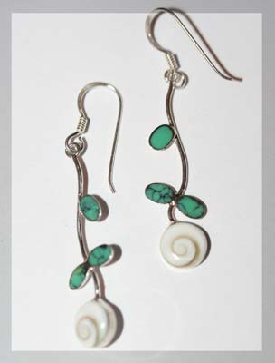 shiva shell and turquoise earrings