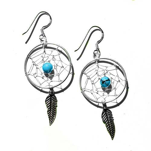 silver dreamcatcher earrings