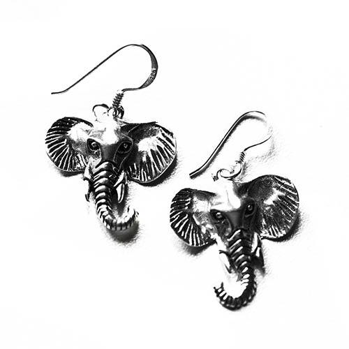 elephant silver earrings