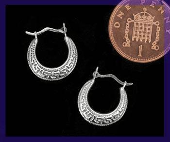 decorative silver hoop ear-rings