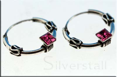 small bali hoop earrings with pink crystal