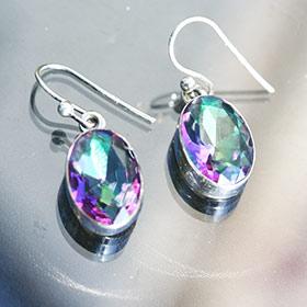 mystic quartz silver earrings