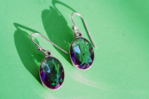 silver earrings with pink and blue mother of pearl