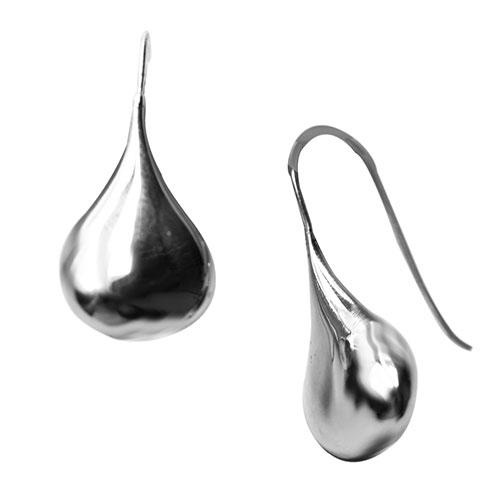pear-drop shaped silver earrings