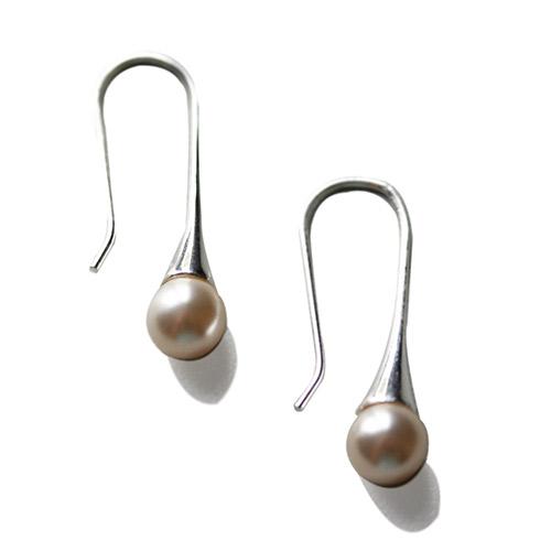 round pearl on silver drop earrings