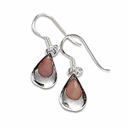silver earrings with pink mother of pearl