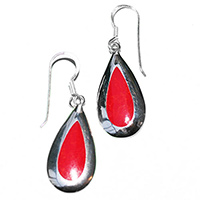 earrings with a pendeloque red coral