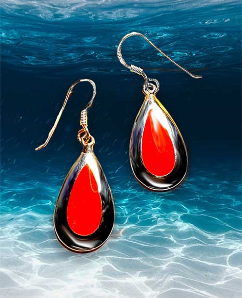 red coral pendeloque earrings