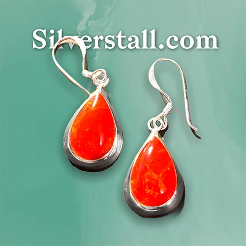 red coral on silver earrings