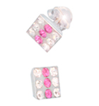 pink and white silver stud earrings