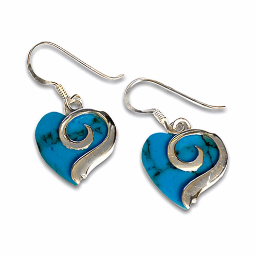 silver heart shaped earrings with turquoise
