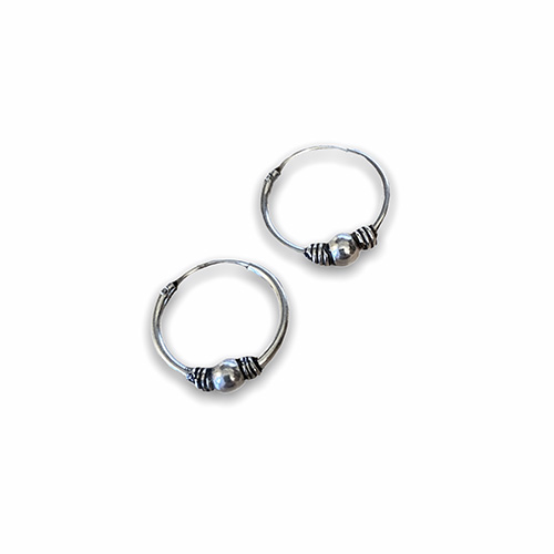 silver hoop earring with a ball