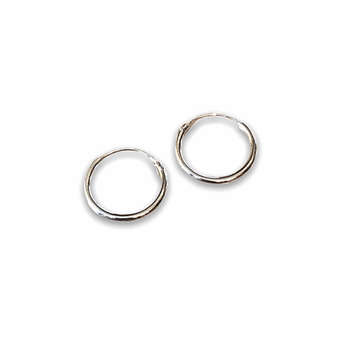 plain sterling silver hoop earring with a 14mm diameter.