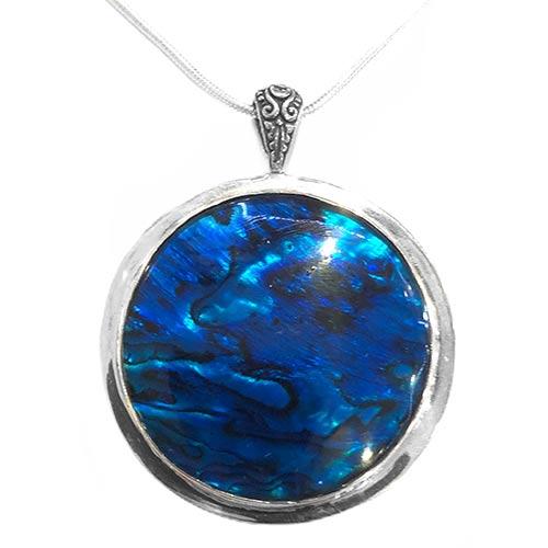 blue paua shell silver necklace