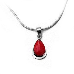red coral on silver necklace
