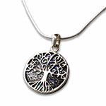 paua-shell tree of life silver necklace