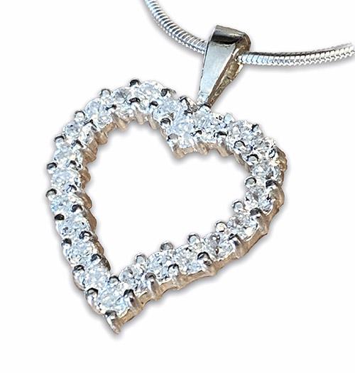 Asymmetrical heart silver pendant