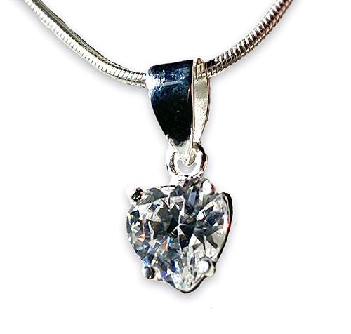 a silver heart pendant with brilliant white zirconia