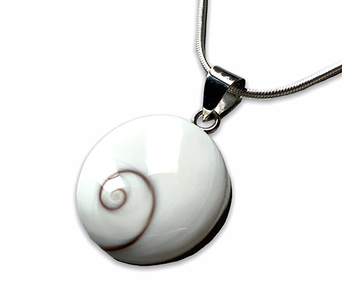 silver pendant with a white shiva shell