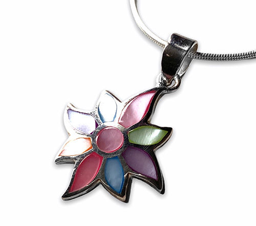 silver pendant with mother of pearl in the shape of a flower