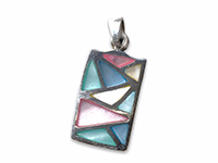 silver pendant with a mosaic of mother of pearl