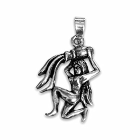 silver pendant of the zodiac sign of aquarius