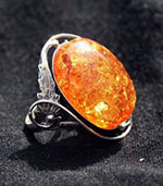 amber ring with floral motif