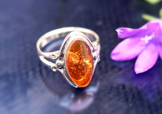oval shaped amber ring