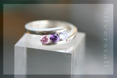 amethyst and rose-quartz ring