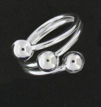 a silver ring with three balls
