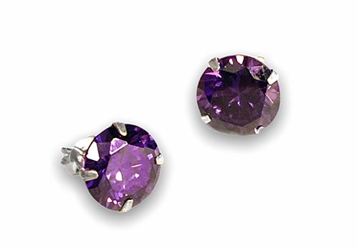 silver stud earrings of a round amethyst stone