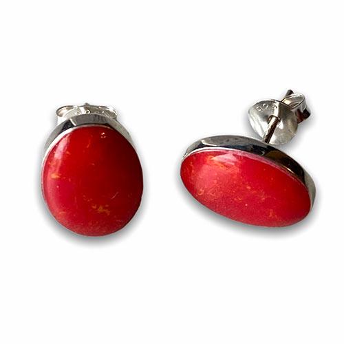 silver red coral stud earrings