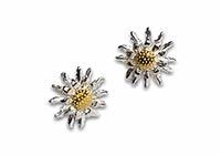 silver stud earrings with sunflowers