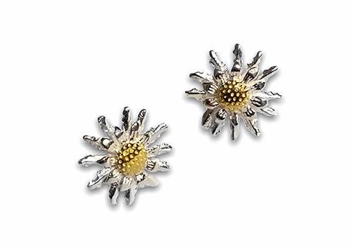 silver sunflower stud earrings