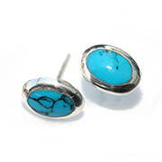 silver stud earrings with oval turquoise