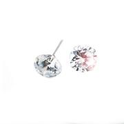 white crystal silver stud earrings