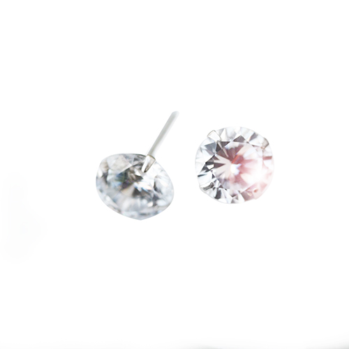 silver studs with white crystal