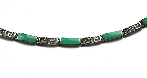 turquoise in silver bracelet in a art-deco style