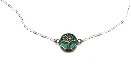 silver braelet with turquoise tree of life